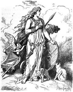 Freya, by Johannes Gehrts. She looks like a badass, yeah? And she has kitties!!
