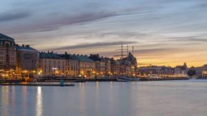Swedish docks at sunrise (or set; I'm not sure) by Skeppsbron