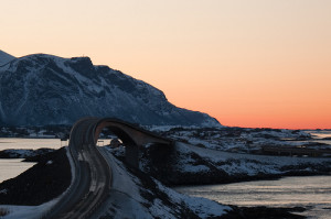 The curving bridge of the Atlantic Highway at sunset