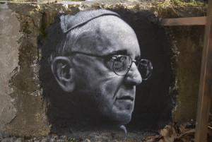 "Pope Francis graffiti in the ""Abode of Chaos"" museum of contemporary art, in Saint-Romain-au-Mont-d'Or, Rhône-Alpes region, France from Thierry Ehrmann"